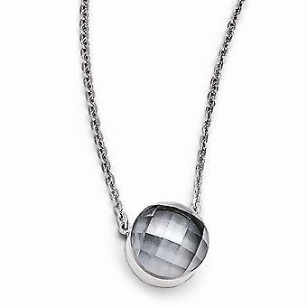 Edelstahl poliert grau Glas mit 1 Zoll Ext Halskette - 18 Zoll