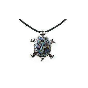 Turtle abalone blue green woman pendant necklace