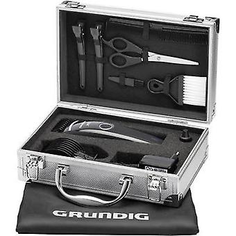 Hair clipper, Beard trimmer Grundig MC3342 washable Black (glossy), Silver