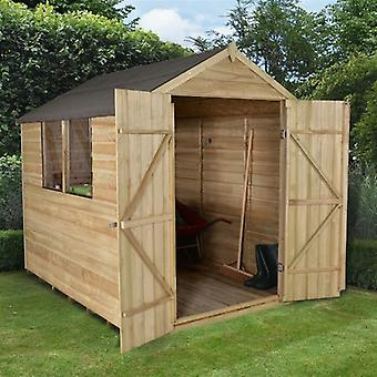 Forest Garden 6 x 8 Pressure Treated Overlap Apex Double Door Shed