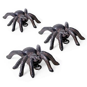 Set of Three Small Wall Mountable Vintage Cast Iron Tarantula Spider Garden Ornaments