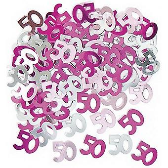 50th birthday party decorations Party Table Decoration Confetti Pink And Silver