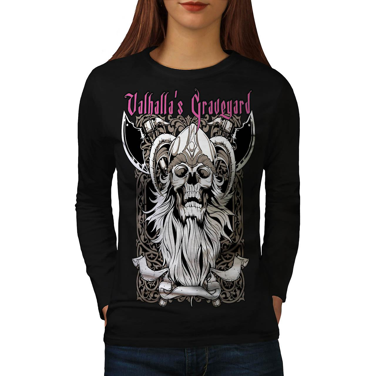 Valhalla Graveyard Monster Skull Women Black Long Sleeve T-shirt | Wellcoda