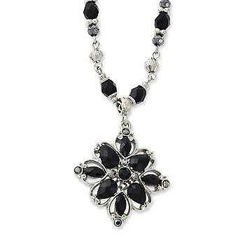 Silver-tone Fancy Lobster Closure Clear Black Hematite Crystal and Acrylic Stone 16 Inch Necklace