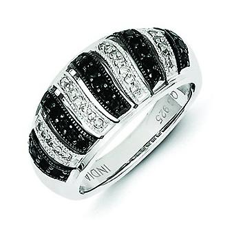 Sterling Silver Black Diamond Fancy virvel Design Ring - Ring storlek: 6 till 8