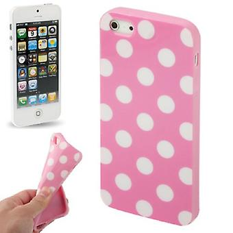 TPU back cover sleeve dotted for phone Apple iPhone 5 & 5 s Pink / White