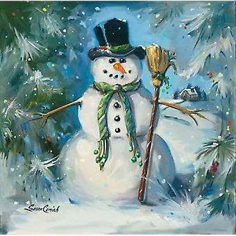 Sweeping Snowman Poster Print by Susan Comish