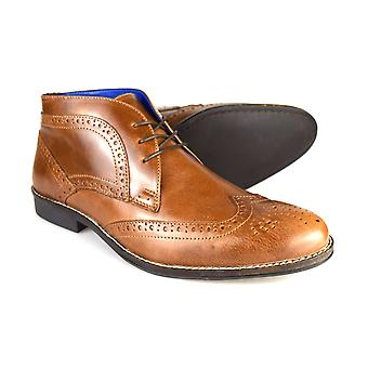 Red Tape Milton Men's Tan Leather Formal Brogue Desert Boots