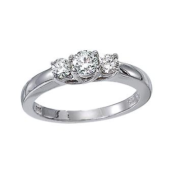 14 k White Gold 0,25 Ct drei Stein Spalier Diamant-Ring