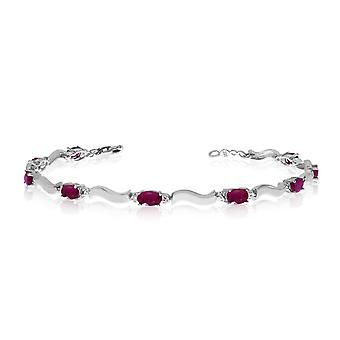 14K White Gold Oval Ruby and Diamond Bracelet