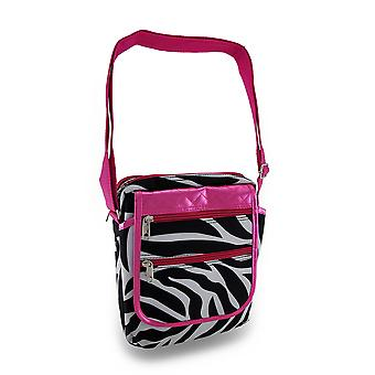 Zebra raya caliente rosa adorno acolchado Gadget/Tablet Cruz bolsa de plástico