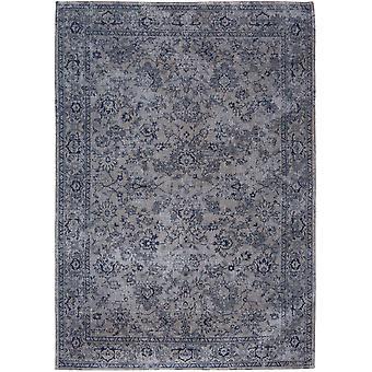 Distressed Slate Blue Floral Flatweave Rug - Louis de Poortere