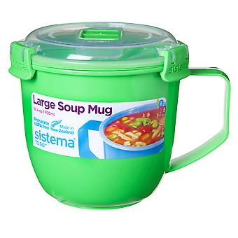 Sistema Large Klip It Microwave Soup To Go Mug, 900ml, Green