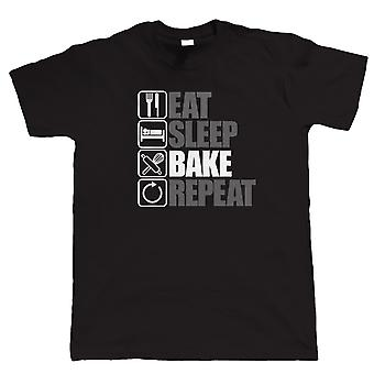 Vectorbomb, äta sömn baka Repeat, Mens rolig, kakor T Shirt (S till 5XL)