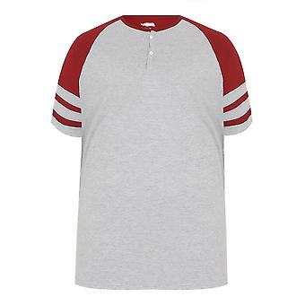 BadRhino Red & Grey Marl Baseball Stripe Sleeve T-Shirt With Button Detail - TALL
