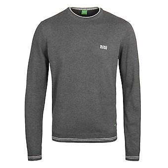 BOSS Green Rime Dark Grey Twin Tipped Knitted Sweater