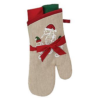 Santas Helpers Coastal Seahorses Oven Mitt and Kitchen Dish Towels Gift Set of 3
