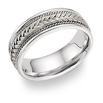 14K oro blanco 7,6 mm trenzado anillo de la venda de la boda