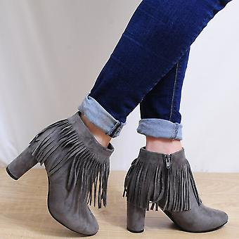 Koi Couture Fringe Ankle Boots - Ladies Kd5 Grey Fringe Ankle Boots