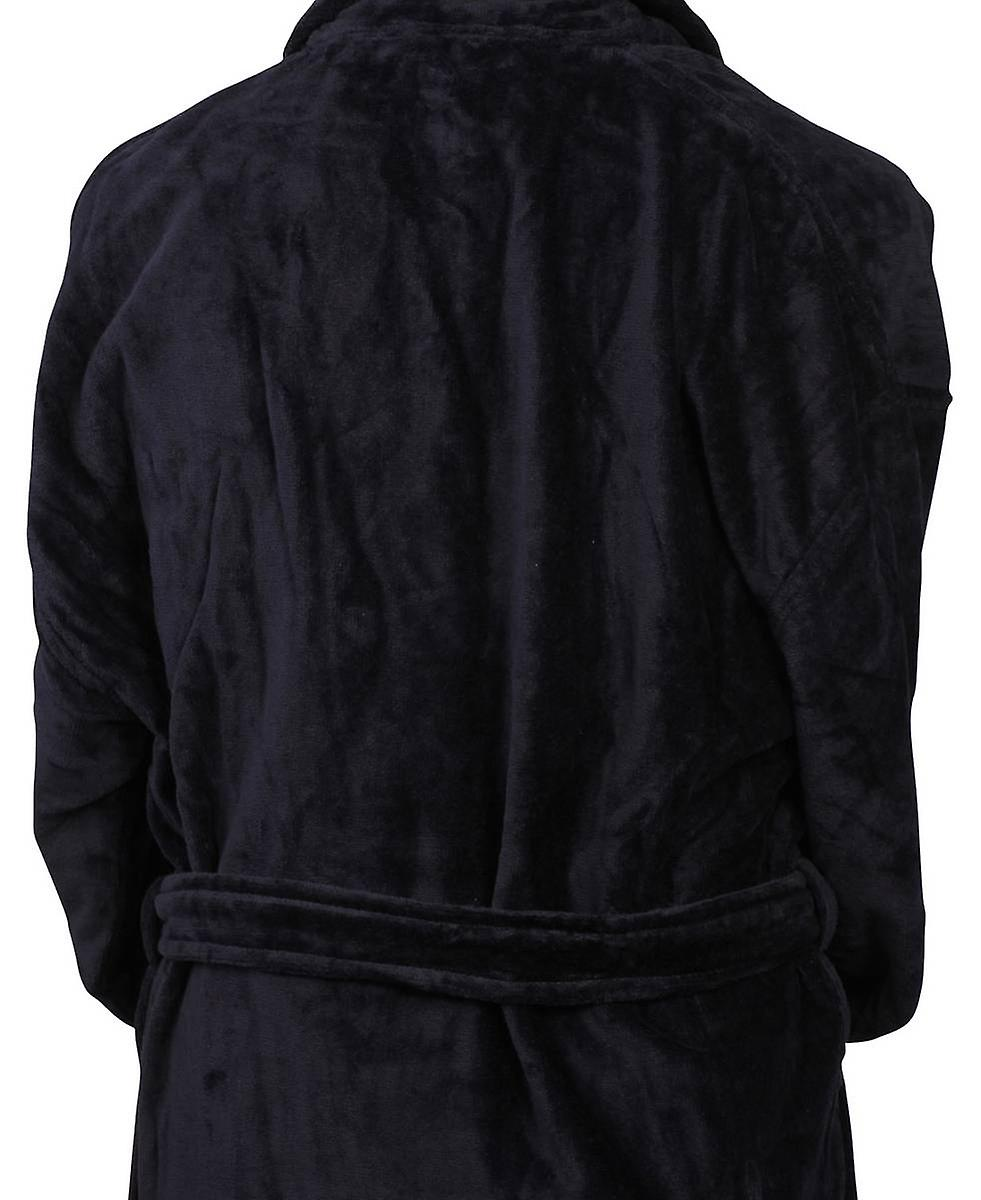 Bown of London Baron Cotton Velour Dressing Gown - Navy