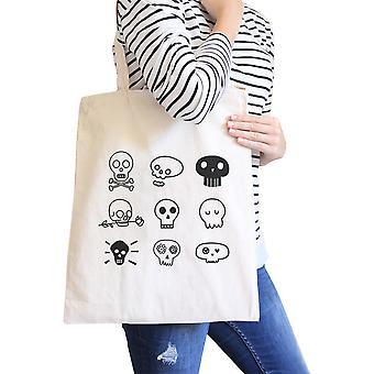 Skulls Canvas Bag Foldable School Bag Reusable Heavy Cotton Natural