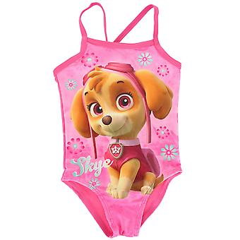 Paw Patrol Skye Girls Pink One Piece Swimming Costume