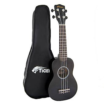 Tiger Soprano Ukulele for Beginners in Black with Bag
