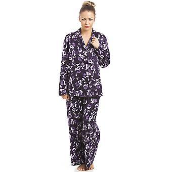 Set pigiama di raso viola stampa floreale lilla Camille