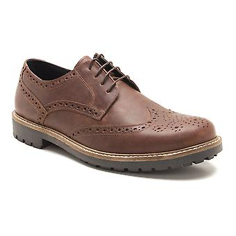 La paperasserie Rydal Mens cuir marron bois Brogue Gibsons