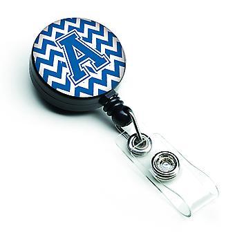 Lettera A Chevron blu e bianco retrattile Badge Reel