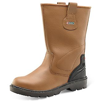 Click Premium Leather Rigger Safety Boot. Tan. S1P - Cf8