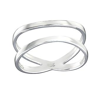 Crisscross - 925 Sterling Silver Plain Rings - W32281X