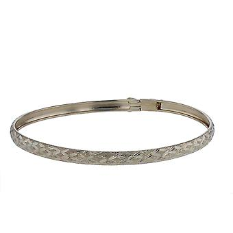 "10k Yellow Gold bangle bracelet Flexible Round with Diamond Cut Design (0.16"")"