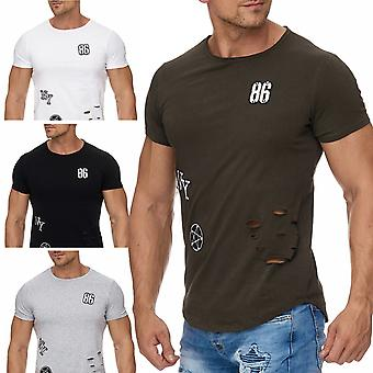 Men's T-Shirt patches on patches rivets destroyed holes cracks top short sleeve shirt