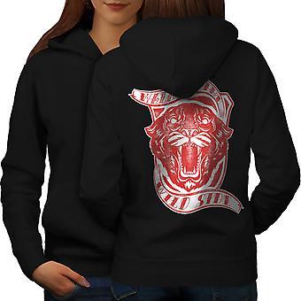 Wild Side Tiger Slogan Women BlackHoodie Back | Wellcoda