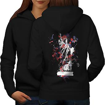 Statue Freedom New York Women BlackHoodie Back | Wellcoda