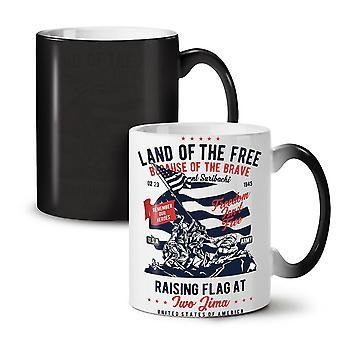 Land Of The Free NEW Black Colour Changing Tea Coffee Ceramic Mug 11 oz   Wellcoda