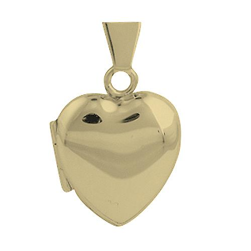 9ct Gold 17x16mm plain heart shaped shaped Locket
