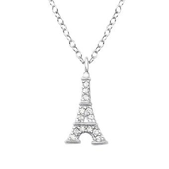 Eiffel Tower - 925 Sterling Silver Jewelled Necklaces - W25022X