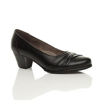 Ajvani womens block mid heel comfort leather flexible grip sole smart work court shoes