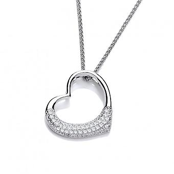 Cavendish French CZ Encrusted Open Heart Pendant without Chain