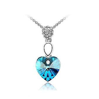 Womens Sky Blue Crystal Elements Heart Necklace Gemstone Chain Necklace Pendant