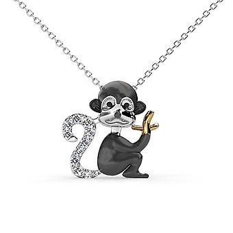 Monkey pendant adorned with White Swarovski Crystal and Rhodium Plate