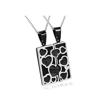 Set Double pendants Couple hearts plate stainless steel
