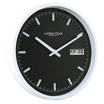 25 cm White Black Day Date Wall Clock