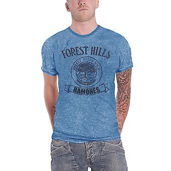 Ramones T Shirt Vintage Forest Hills High Logo Official Mens New Blue Burnout