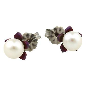 Ti2 Titanium Small Flower and Pearl Stud Earrings - Mulberry Brown