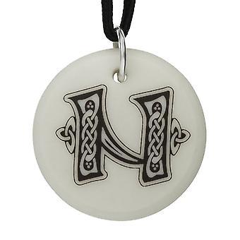 Handmade Celtic Initial Round Shaped Porcelain Pendant - Letter 'N'
