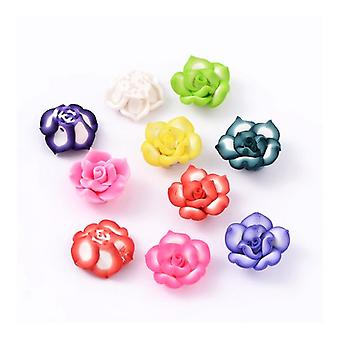 Packet 10 x Mixed Polymer Clay 8 x 20mm Flower Beads HA24070