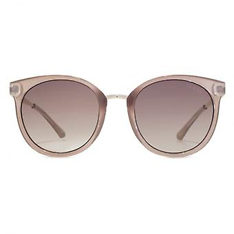 Guess Peaked Round Sunglasses In Shiny Beige